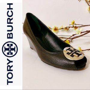 Tory Burch Sally 2 Leather Wedge Pump Sz8🌺🌺🌺